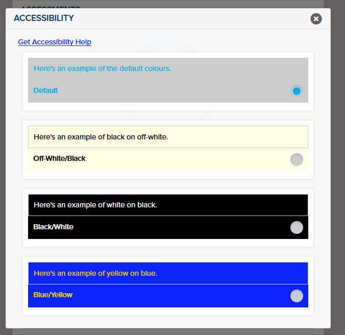 Screenshot of the accessibility options page in the SHL system