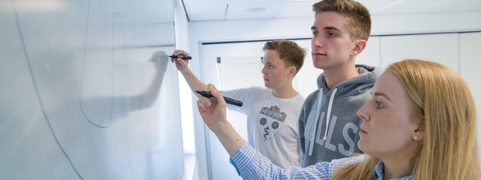 Three students work on a whiteboard