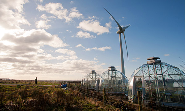 A view of the weather station, biodomes and wind turbine at Hazelrigg