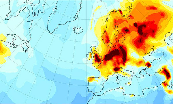 A heat map of Europe and the Atlantic ocean