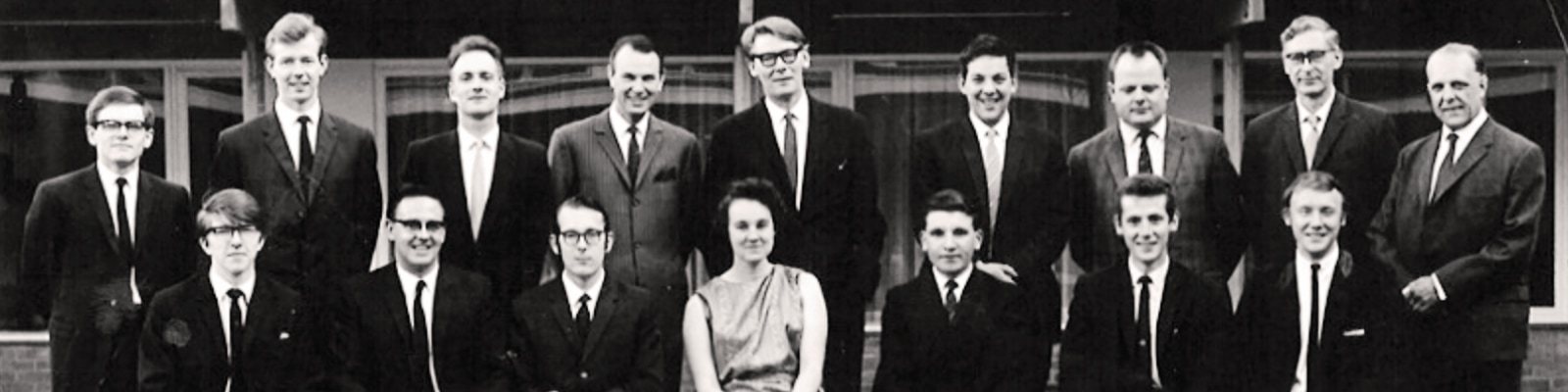 A black and white photo of the first class to graduate in 1967