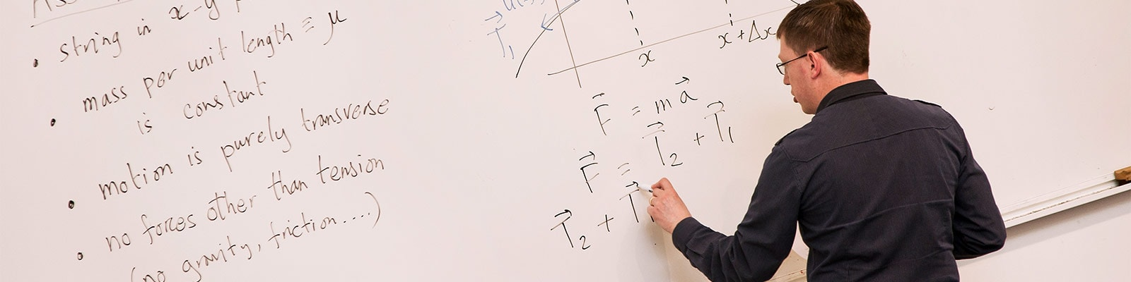 A man writes equations on a whiteboard