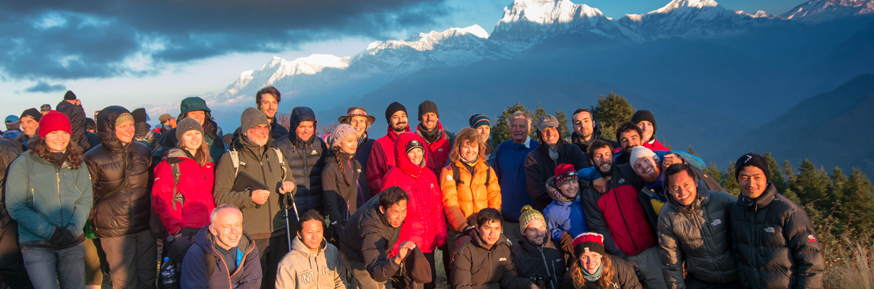 The iTECC group with the Annapurna range behind.