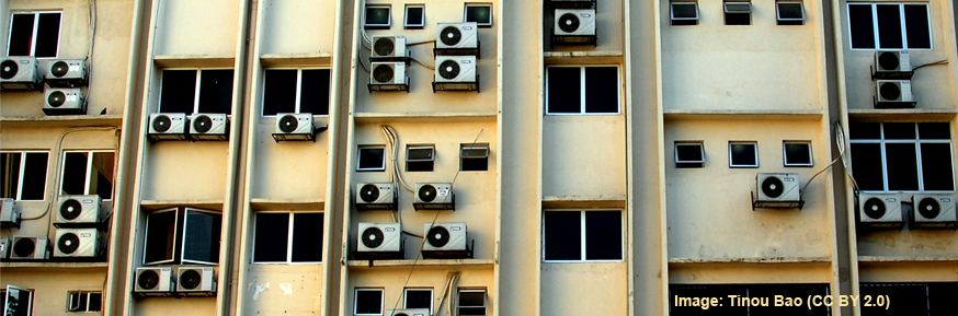 Aircon on the side of a building in Kuala Lumpur