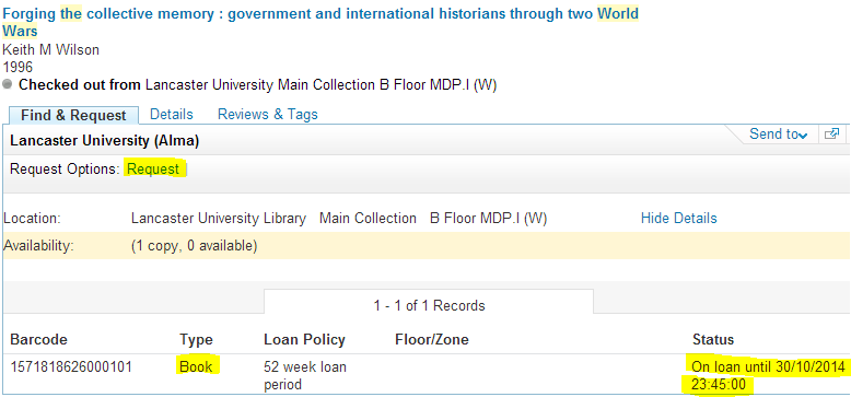 An item shown as on loan in OneSearch