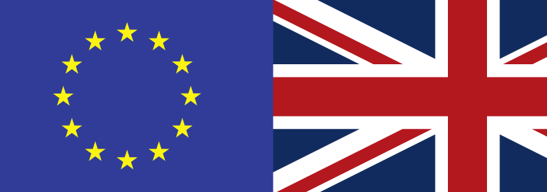 A montage of the UK and EU flags
