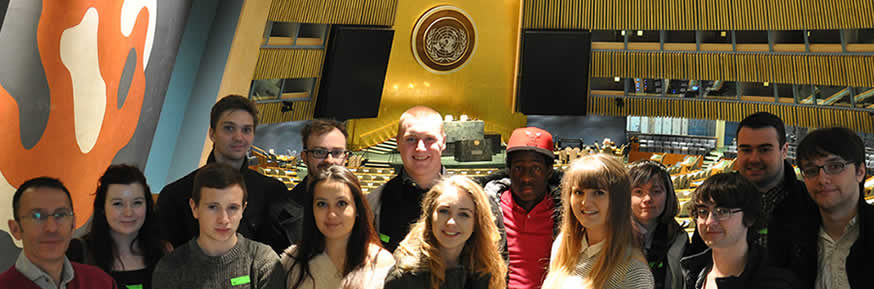 Students visited the UN building during the trip
