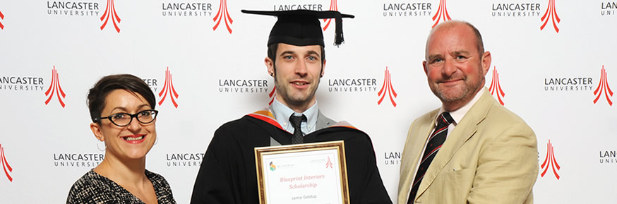 Blueprint Interior's Managing Director, Rob Day, came to Lancaster for Jamie's graduation to present the Award. He was joined by Professor Maria Piacentini, the Head of Department for Marketing.