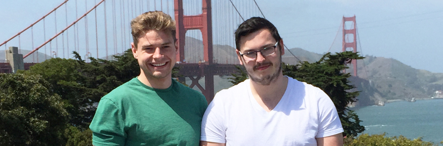 Tom Young and Fraser Williams in front of the Golden Gate bridge