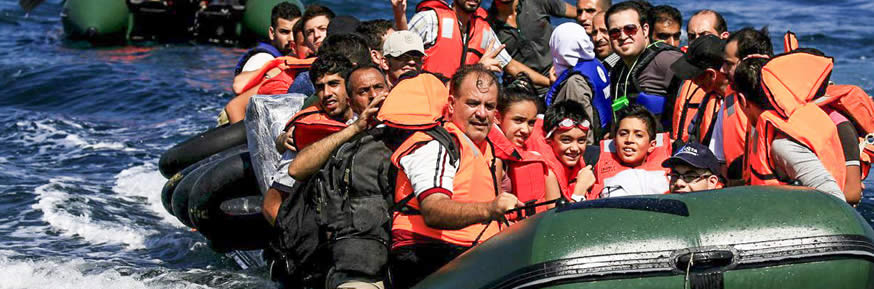 Refugees in a boat