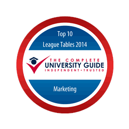 Lancaster ranked Top University for Marketing in the 2014 Complete University Guide. Complete University Guide badge