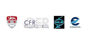 Optiframe supporting institution logos; Lancaster University, CFR, Eurocontrol and NLR