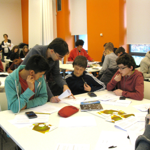 Students work on maths problems