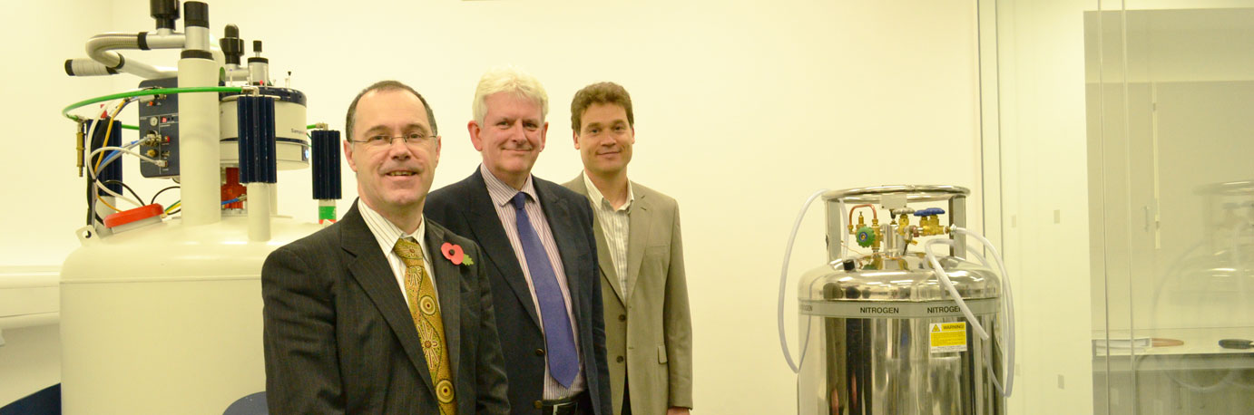 Vice-Chancellor of Lancaster University Professor Mark E. Smith with HProfessor Peter Fielden and Professor David Middleton in the new NMR Laboratory.