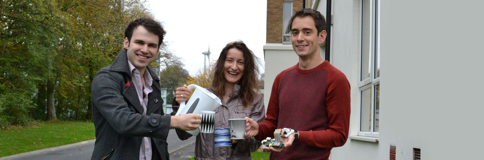 The perfect time for a cuppa…when the wind blows. From left: Dr Pete Newman, Dr Maria Angela Ferrario and Dr Will Simm