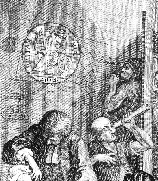 The Longitude Project logo: a detail from 1763 edition of Hogarth's 'The Rake's Progress', showing lunatics at Bedlam driven mad by searching for a solution to the problem of Longitude.