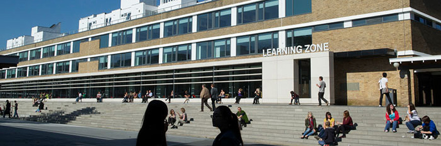 Lancaster University students outside the Learning Zone in Alexandra Square