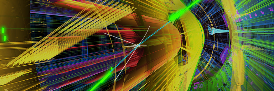 An ATLAS event with two photons. The photons are indicated by the clusters of energy shown in green. (Courtesy of ATLAS Experiment at CERN)