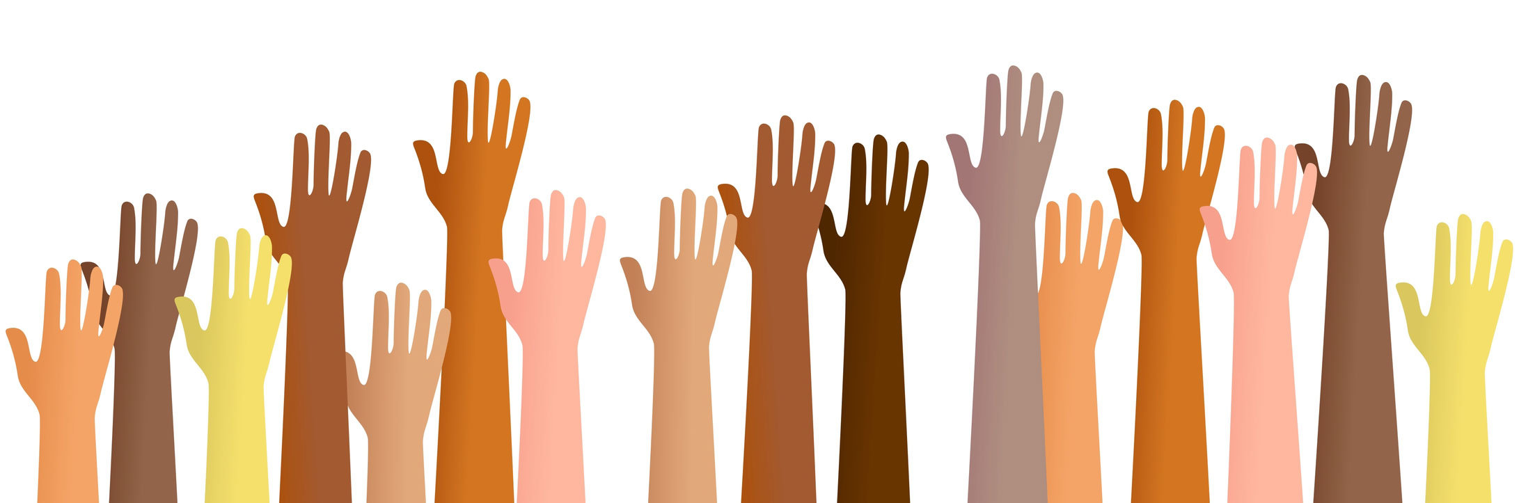 graphic depicting a show of volunteer hands