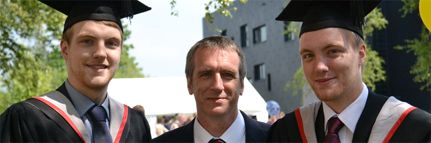 Laurence Pullan (left) with father Tim and twin brother Joel