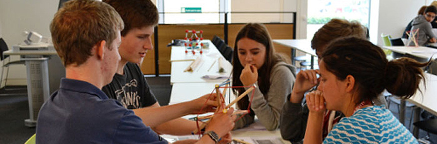 The students created tensegrity structures as part of the Headstart mathematics residential at Lancaster University