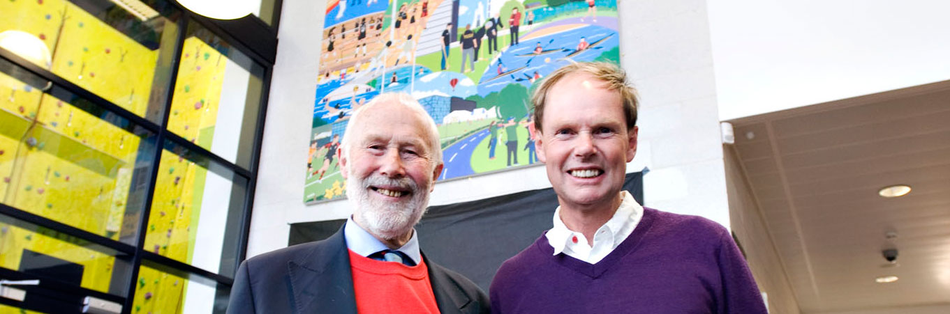 Sir Chris Bonington with artist Chas Jacobs at the unveiling of the new artwork
