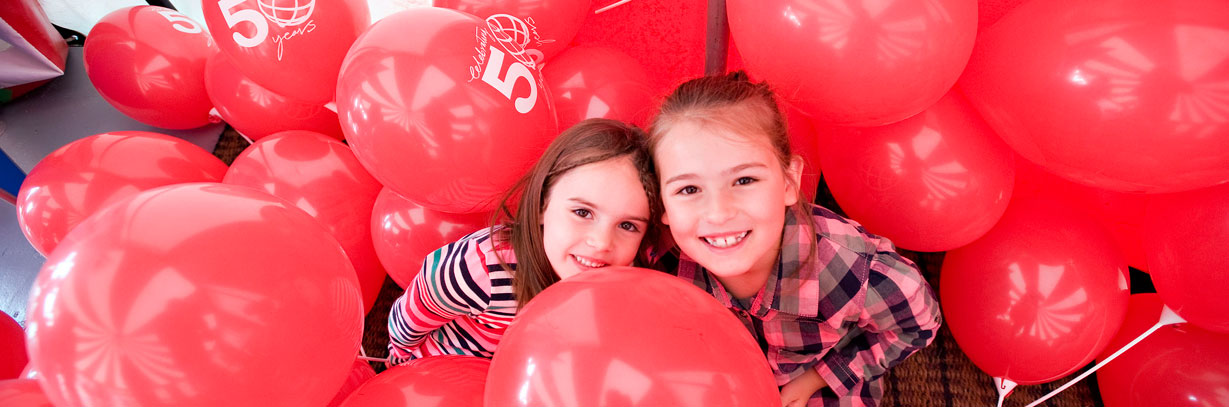 Sofia and Carlota Pascual-Simpson have fun at the Community Activities Day