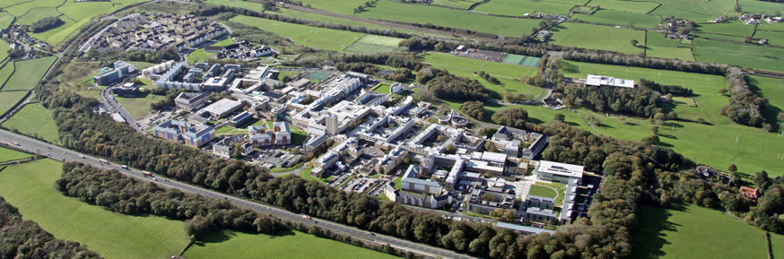 Aerial view of the Lancaster University campus