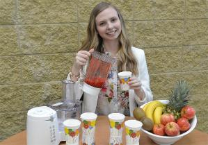 Kasia Kowalska gets to grips with the smoothie branding challenge, one of Lancaster University Management School's collection of interactive business games.