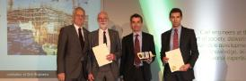 The winning team receive their award (from left): ICE President Geoffrey French, John Heathcote, Malcolm Joyce and Jamie Adams.