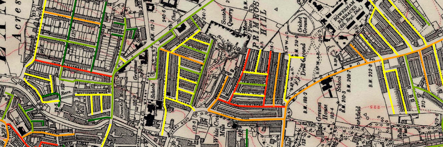 A map of Lancaster city centre where streets in red suffered the heaviest losses