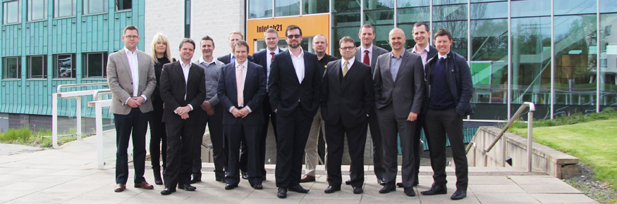 Security Lancaster's Dr Daniel Prince (centre) with members of the North West Cyber Security Cluster