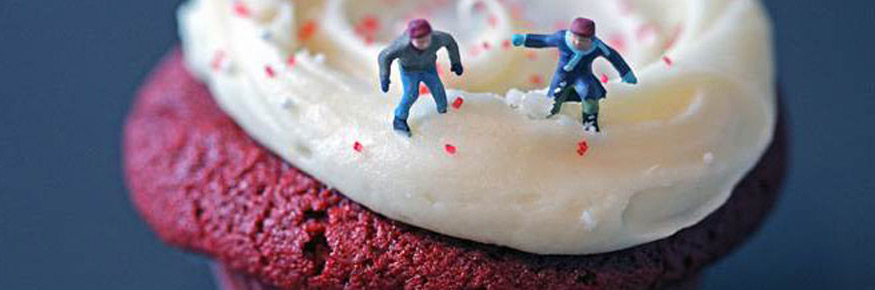 The book's cover image;'Red Velvet Cupcake Boys by Christopher Boffoli