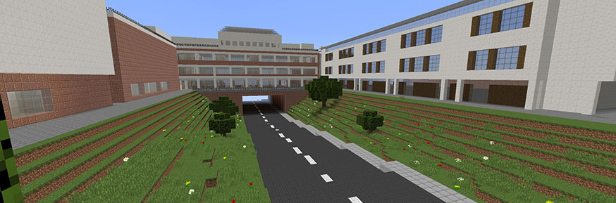 Key features of Lancaster University's campus have been recreated already within Minecraft, such as the underpass.