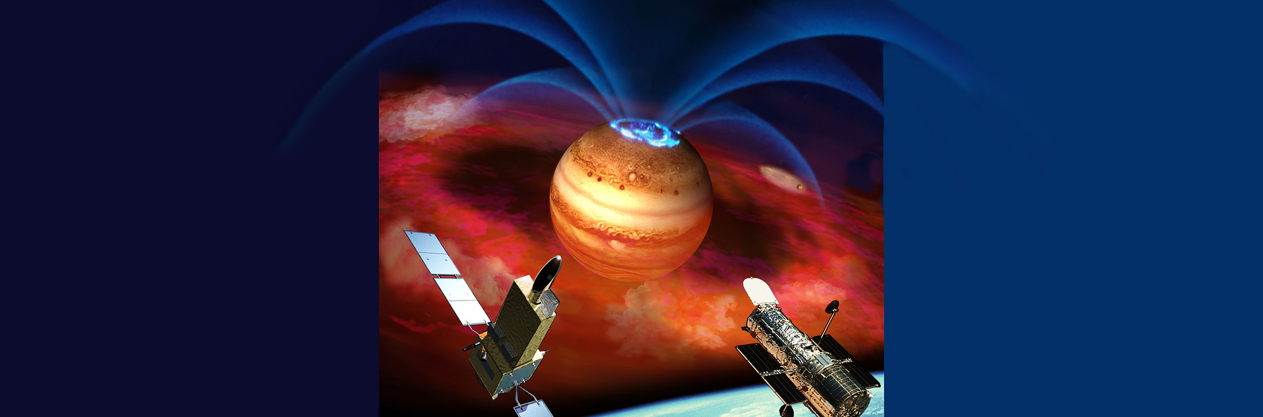 An artist's illustration incorporating new Hubble observations of aurora at Jupiter
