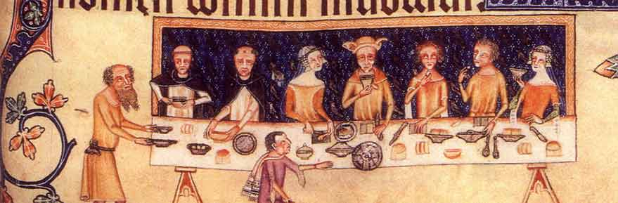Dining room scene from the Luttrell Psalter, 1325-1335.