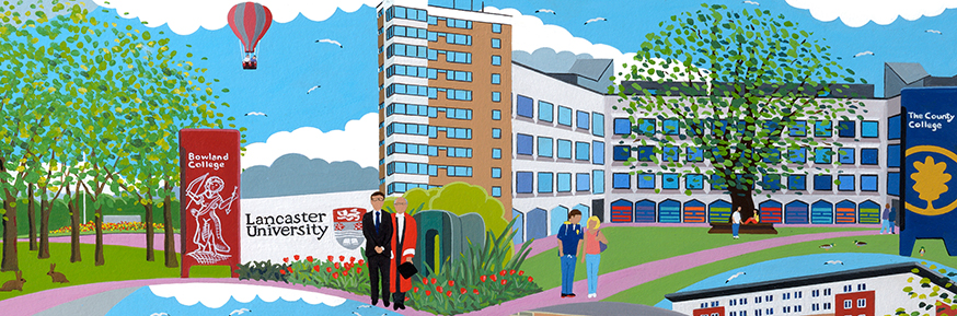 A section of the new artwork by Chas Jacobs which shows the Chancellor, the Rt Hon Alan Milburn (centre) and Jim Wood in his capacity as University Ceremonies marshall.
