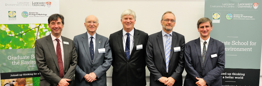 L-R: Professor Kevin Jones, Sir Martin Holdgate, Professor Mark Bailey, Professor Achim Dobermann, Professor Philip Barker