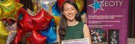 Emily Chi with her 'Above and Beyond Award' award at the Student Employee of the Year awards 2016