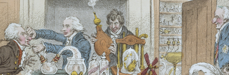 The cartoonist James Gillray captures Davy and colleagues experimenting with nitrous oxide.