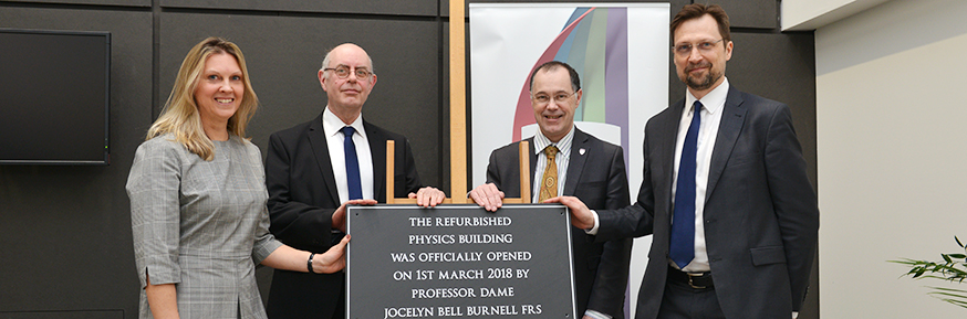 Professor Isobel Hook, Professor Roger Jones, the Vice-Chancellor and Dean of the Faculty of Science and Technology Professor Peter Atkinson