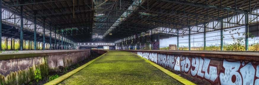 Image of disused railway platform overgrown with moss