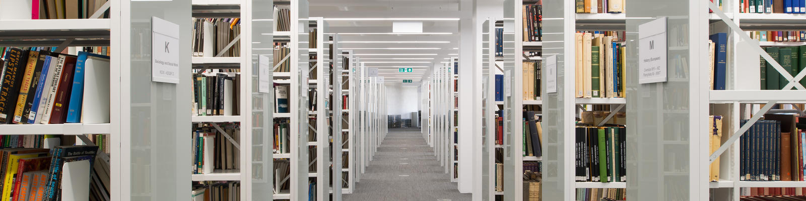 A picture of bookshelves within the Library on Lancaster University Library