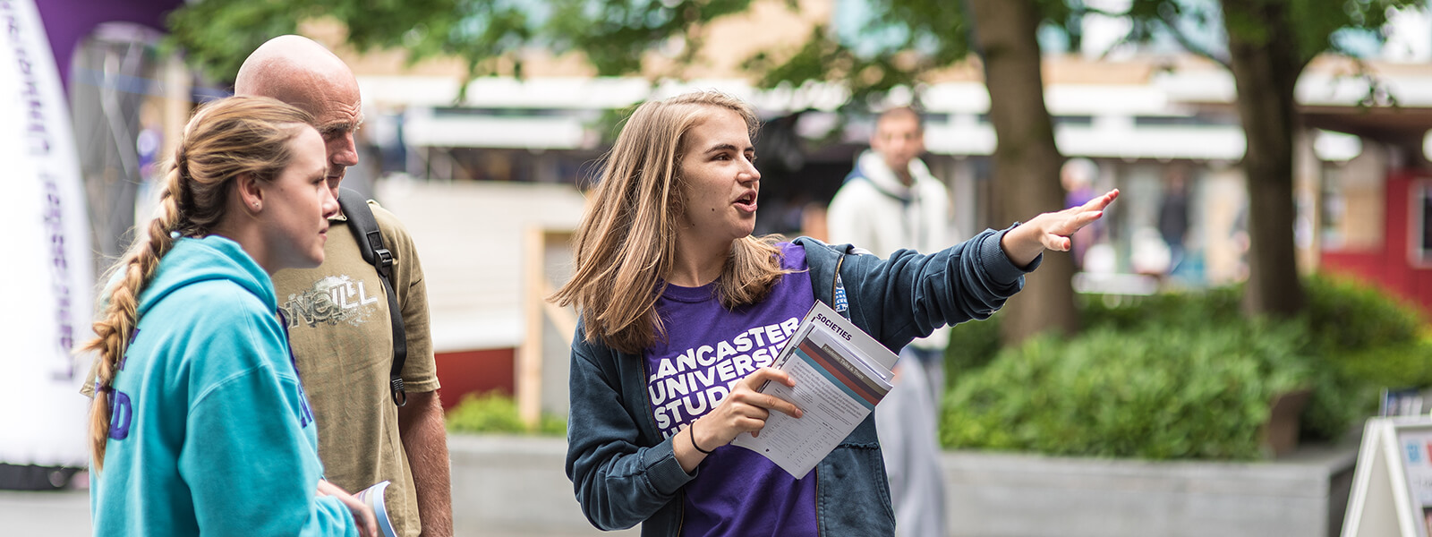 A student ambassador at a Lancaster open day