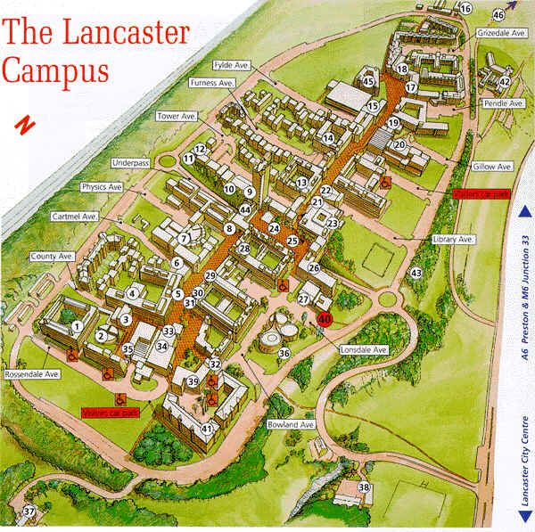 Map of the Campus of Lancaster University