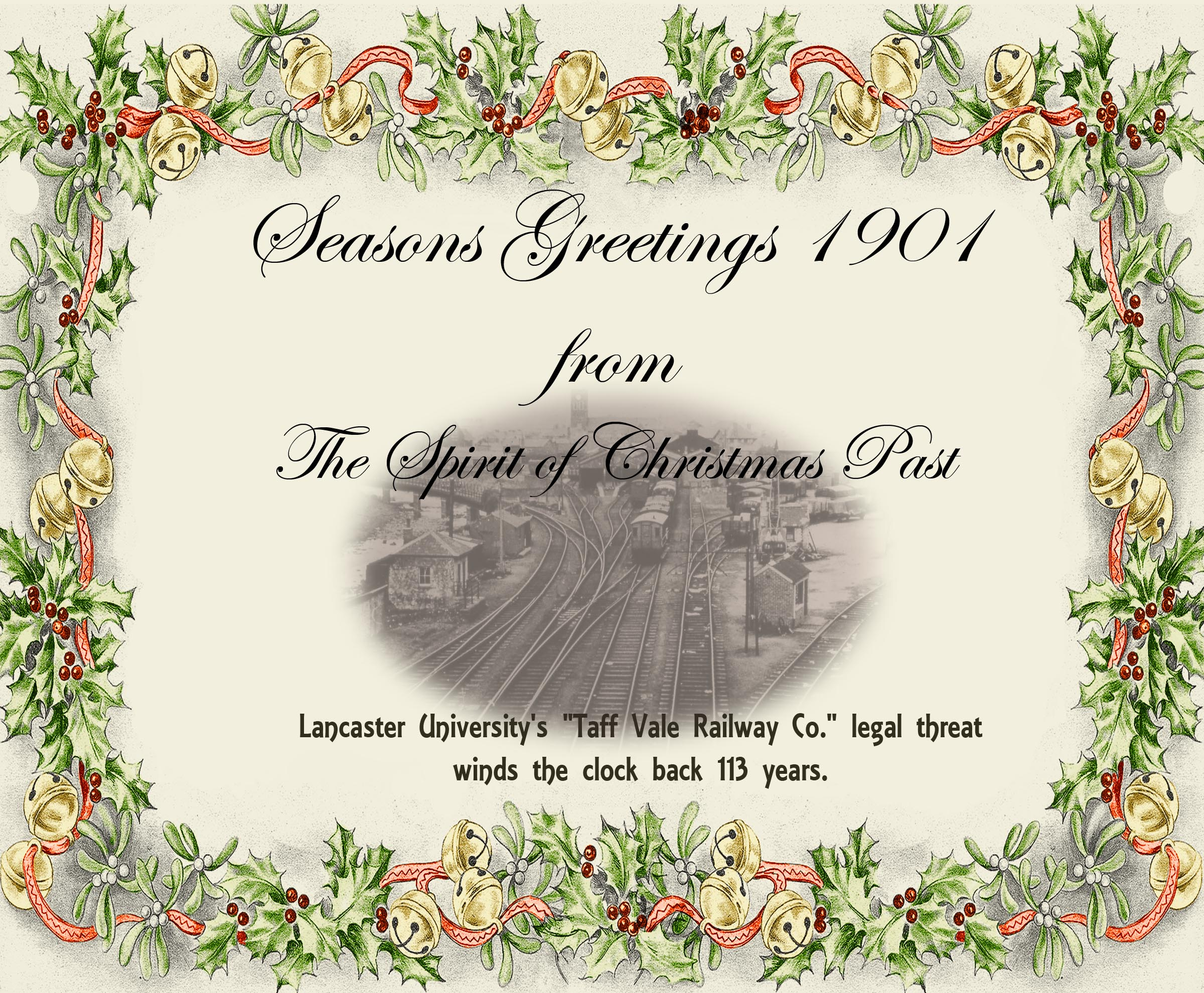 season's greetings image of a rail yard bordered with decorative holly